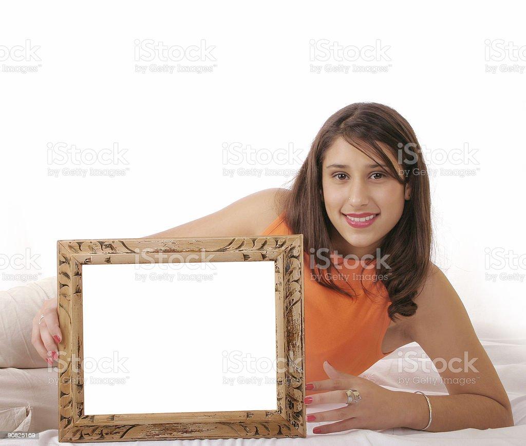Beautiful girl presenting message stock photo