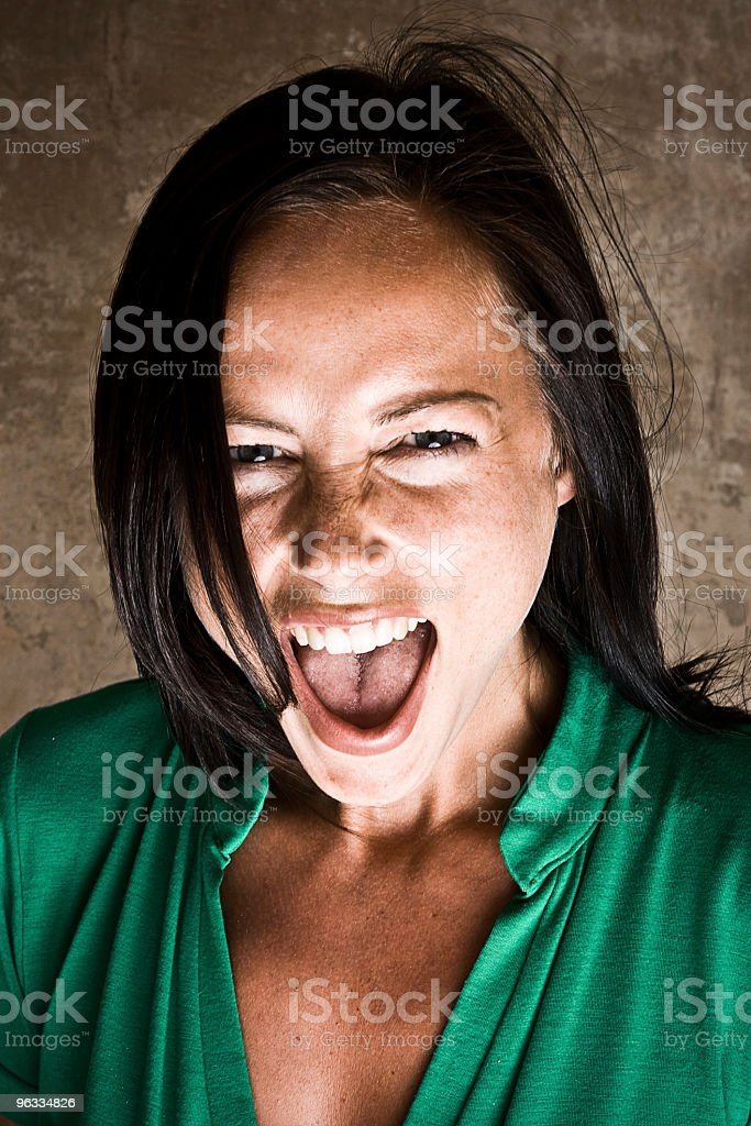 Beautiful girl screaming Looking At Camera royalty-free stock photo