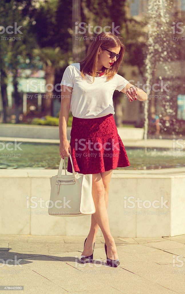 Beautiful girl shopping in the city stock photo