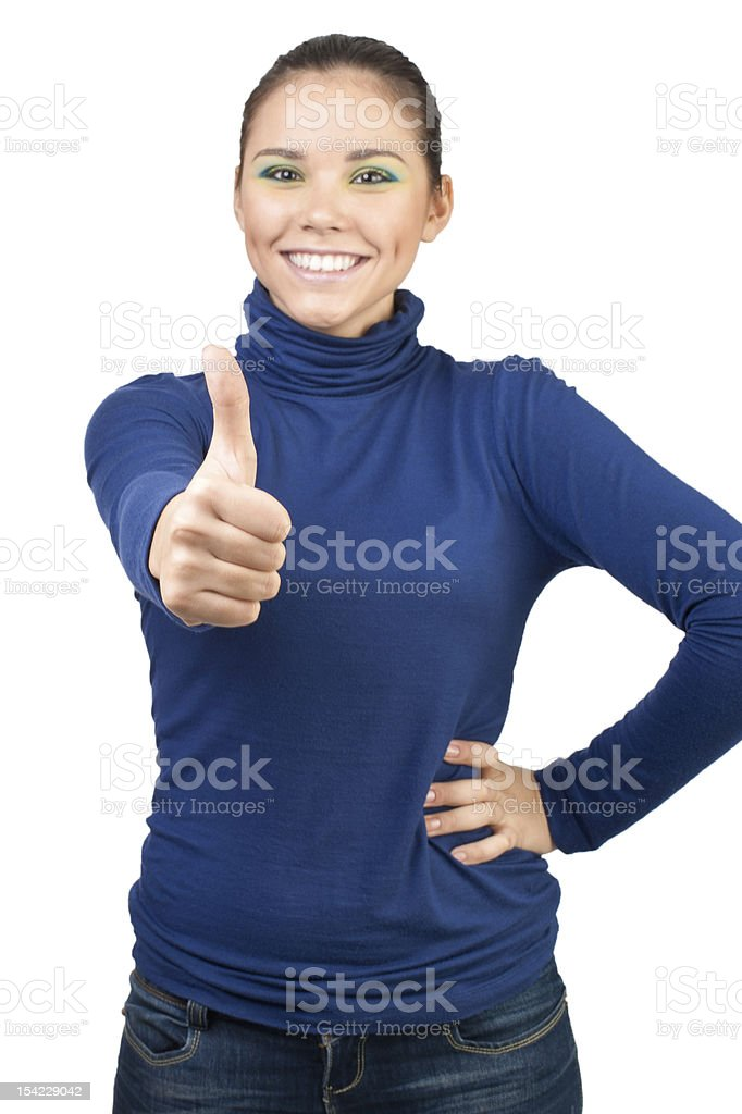 Beautiful girl showing thumbs up royalty-free stock photo