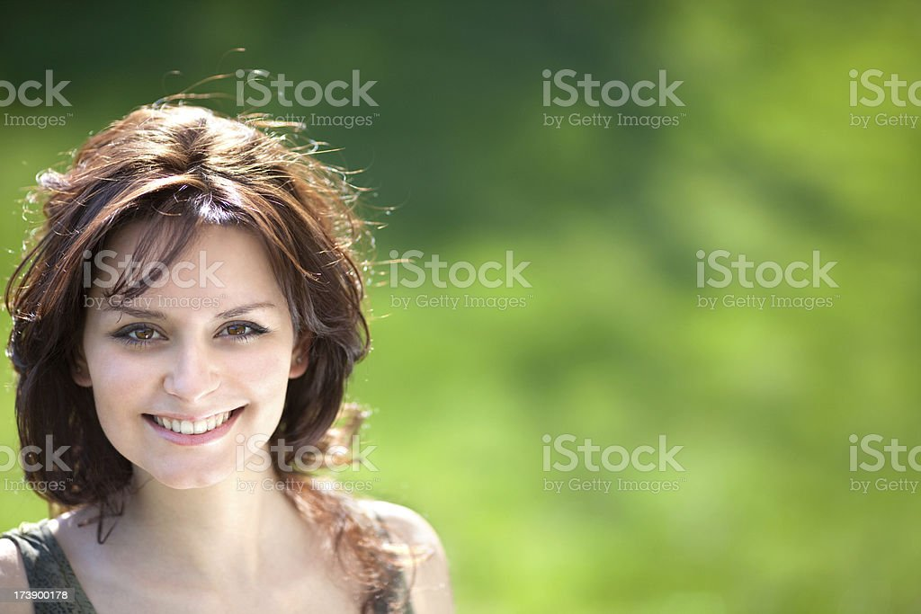 beautiful girl smile outdoor in sunny summer or spring day royalty-free stock photo
