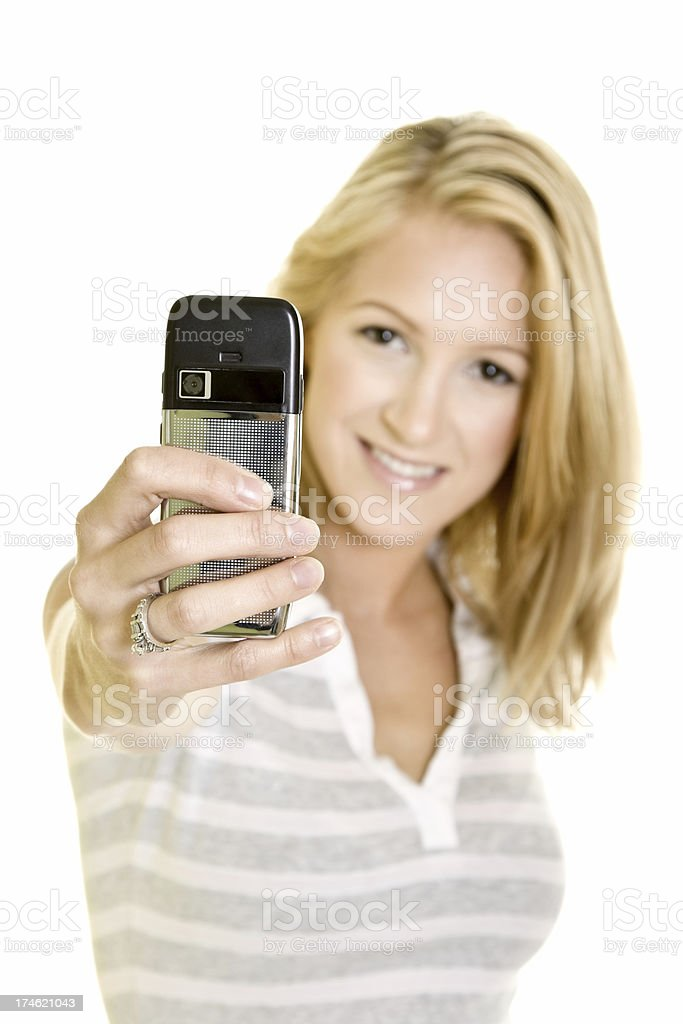 Beautiful girl taking picture with cellphone royalty-free stock photo