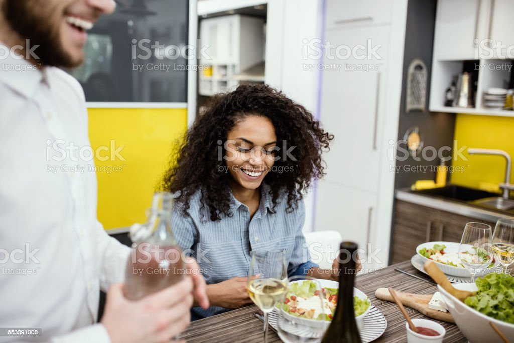 Beautiful girl thrilled with her salad. stock photo