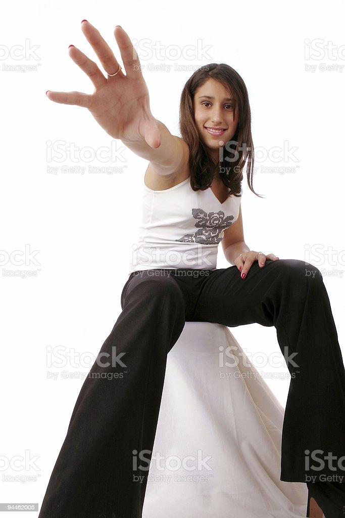 Beautiful girl trying to catch you 3 stock photo