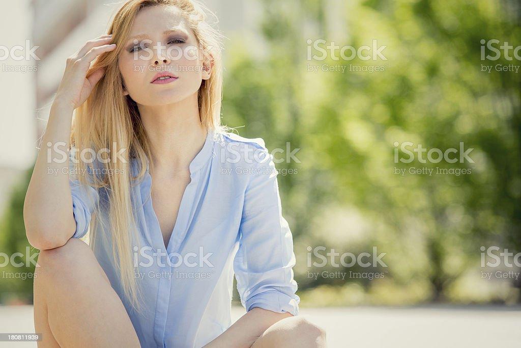 Beautiful girl urban park portarit royalty-free stock photo