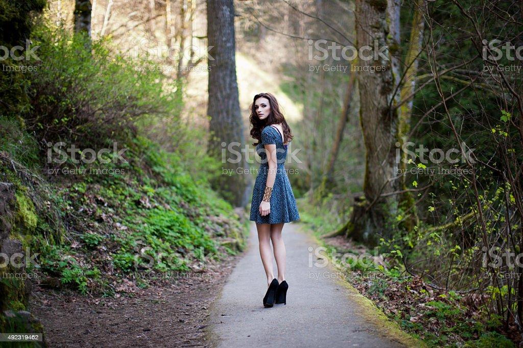 Portrait Of A Beautiful Girl Walking Down The Street Stock Photo ...
