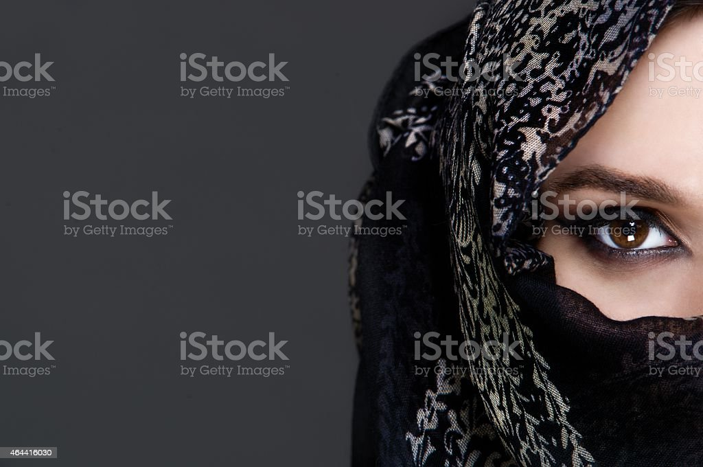 Beautiful girl wearing a niqab stock photo