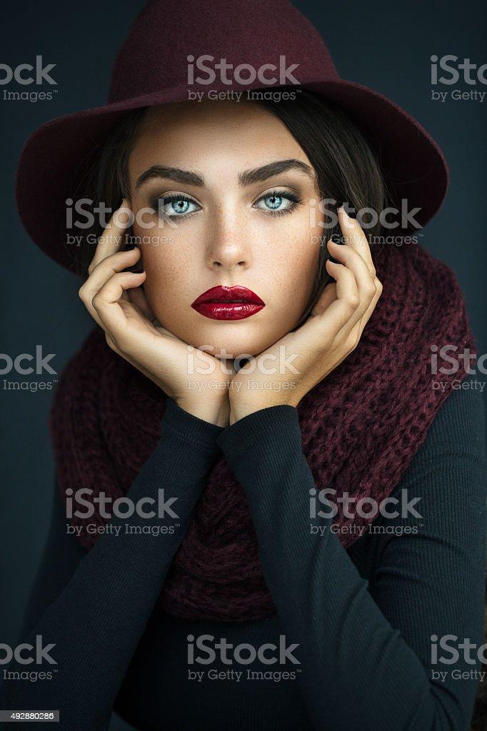Beautiful girl wearing hat stock photo