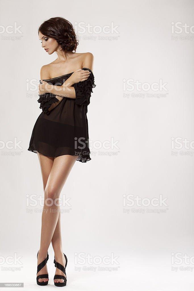 Beautiful girl wearing transparent chiffon dress royalty-free stock photo