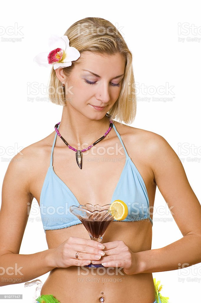 Beautiful girl with a cocktail glass royalty-free stock photo
