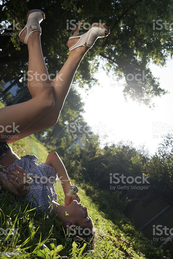 Beautiful girl with a retro phone. royalty-free stock photo
