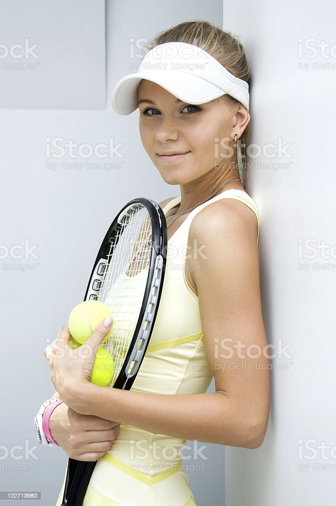 beautiful girl with a tennis racket royalty-free stock photo