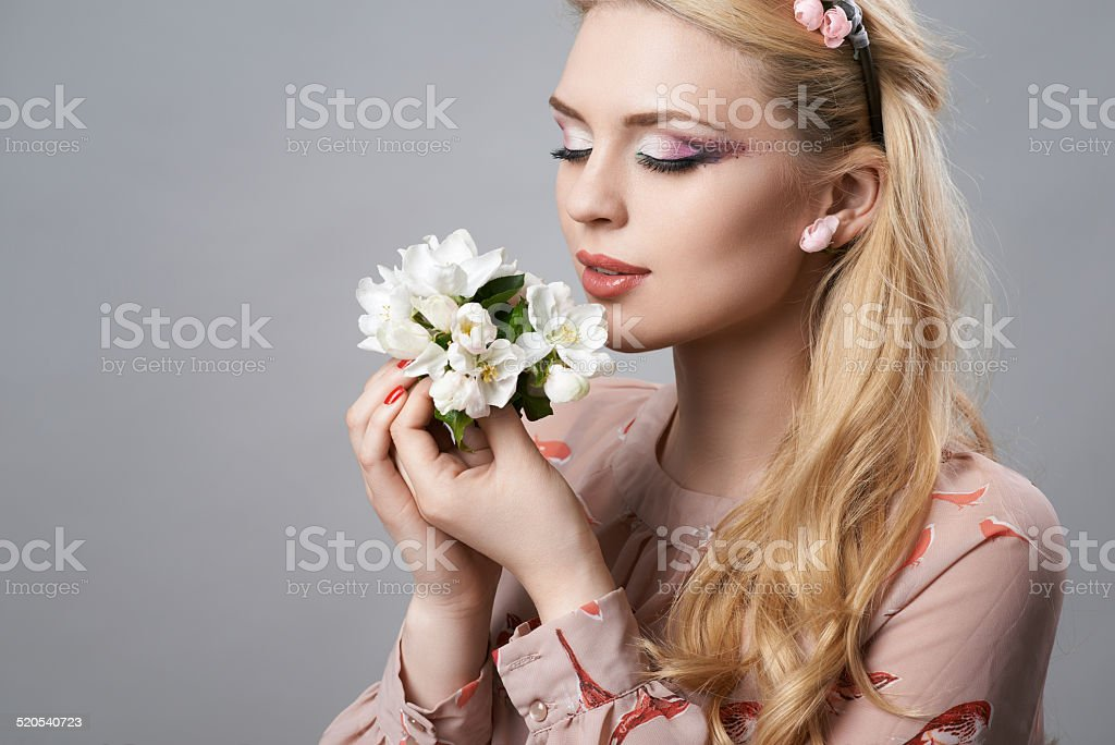 beautiful girl with a wreath stock photo