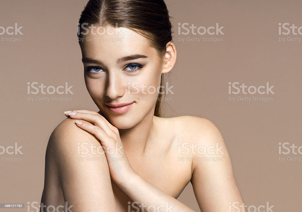 Beautiful girl with beautiful makeup, youth and skin care stock photo