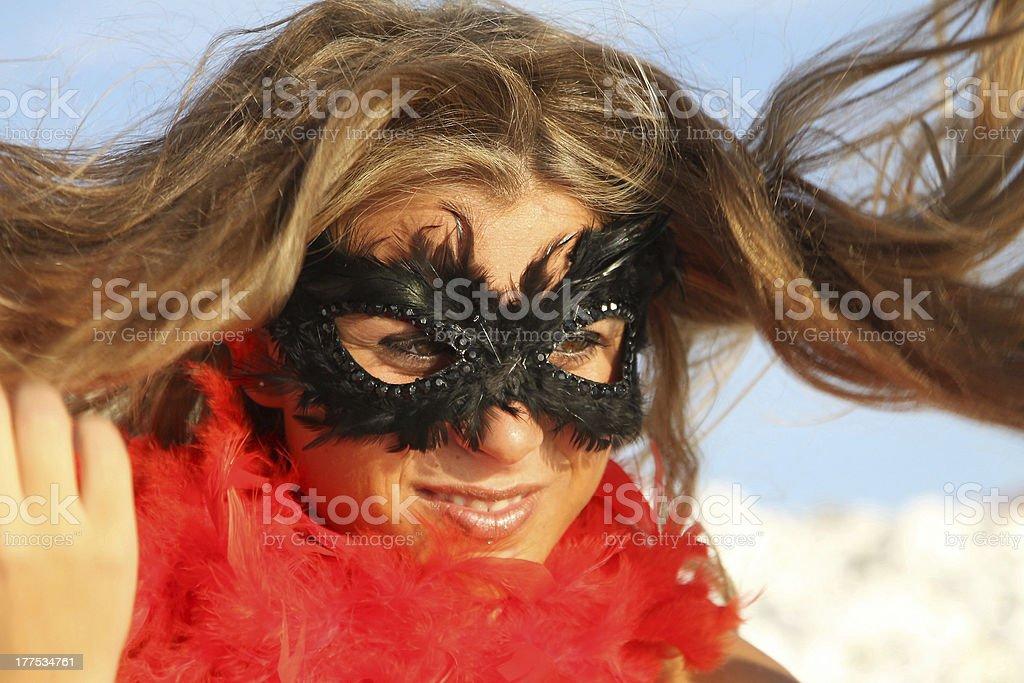 beautiful girl with black mask eyes stock photo