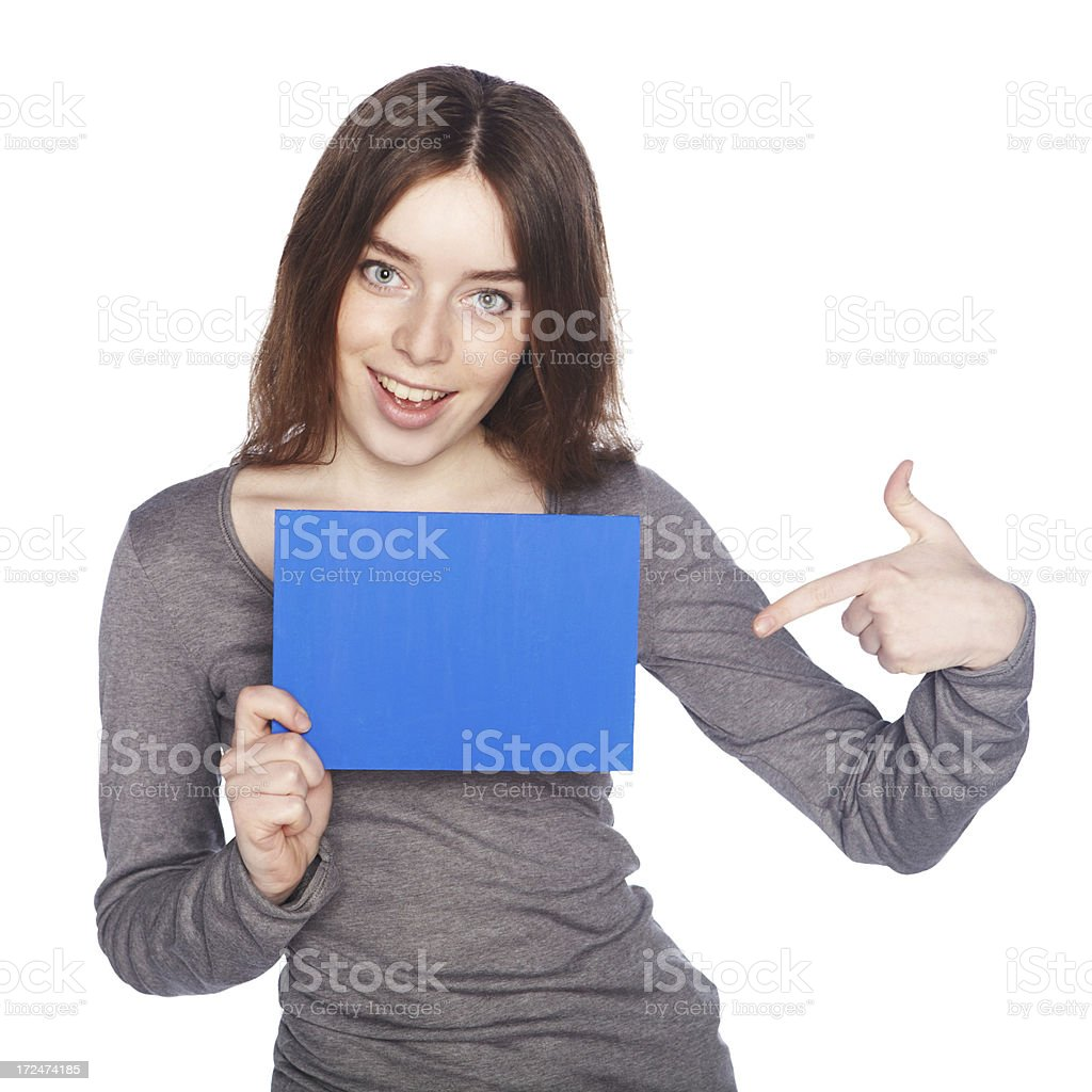 Beautiful girl with blank blue banner. stock photo