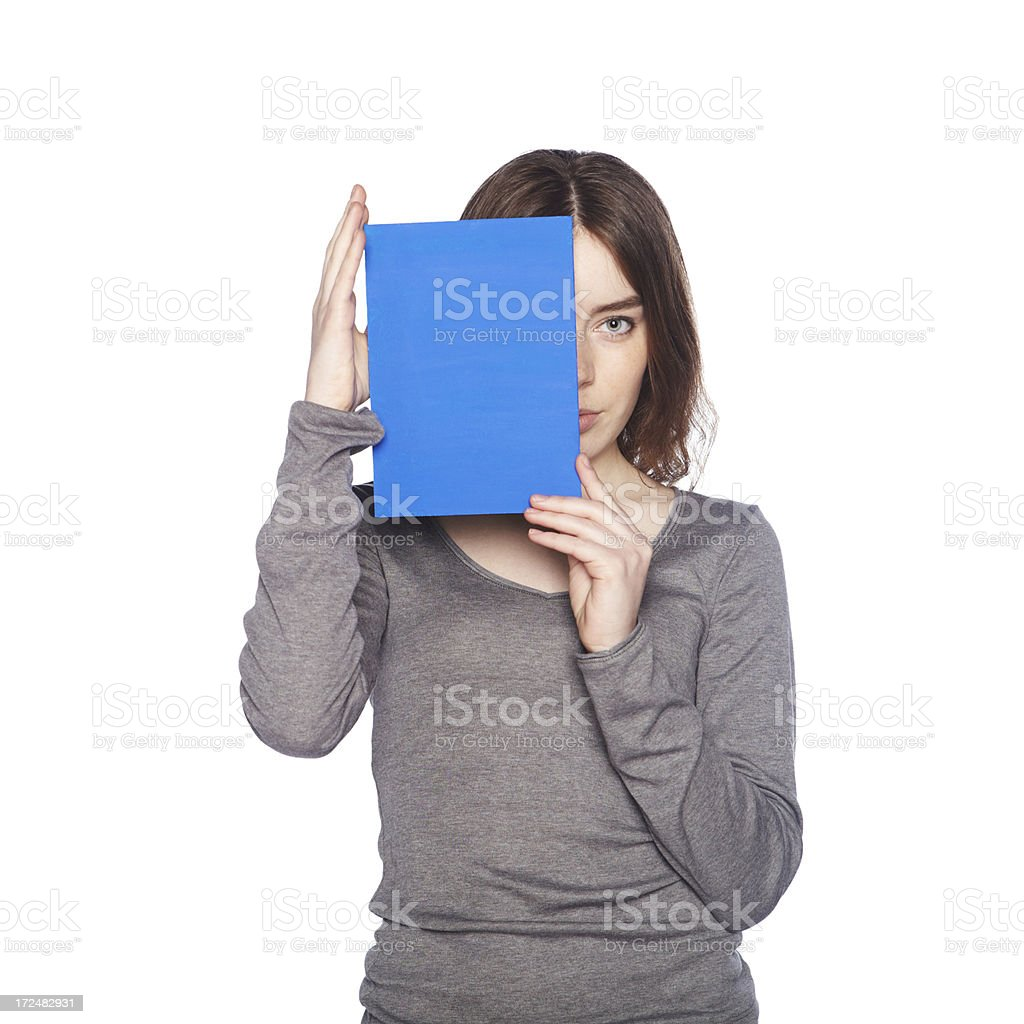 Beautiful girl with blank blue banner stock photo