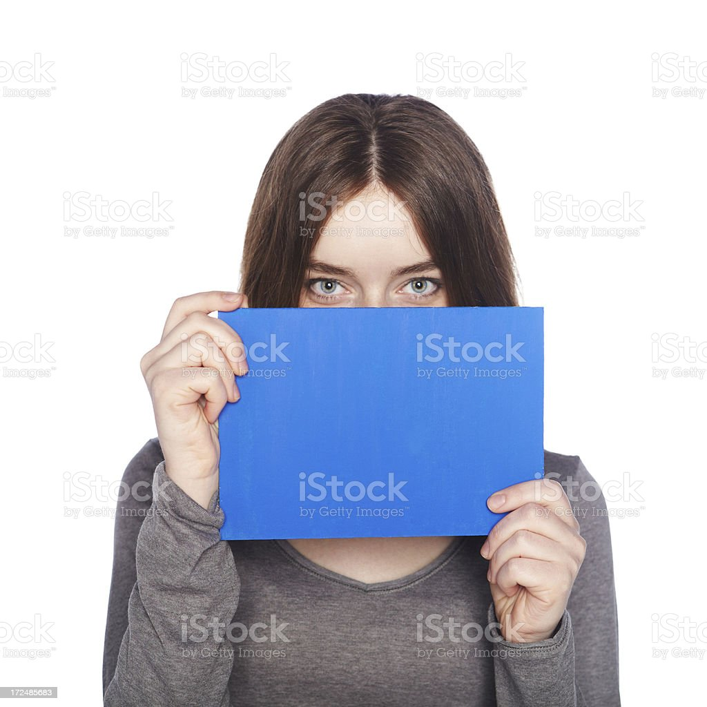 Beautiful girl with blank blue banner royalty-free stock photo