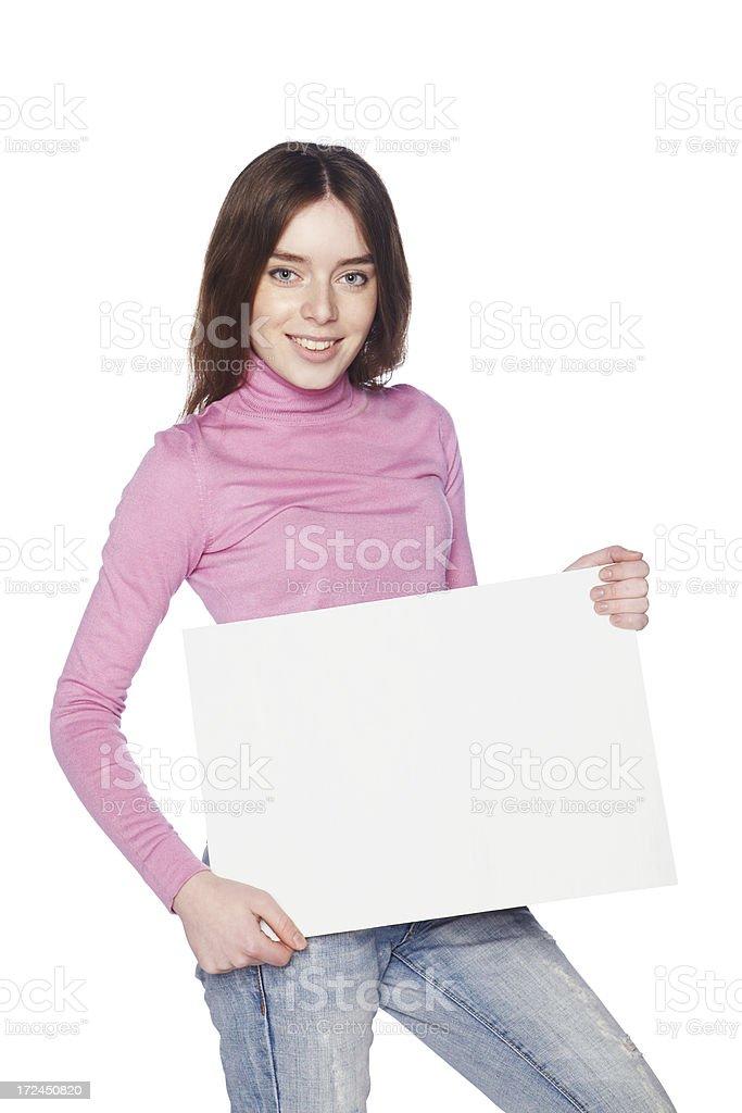 Beautiful girl with blank white banner at waist level. royalty-free stock photo