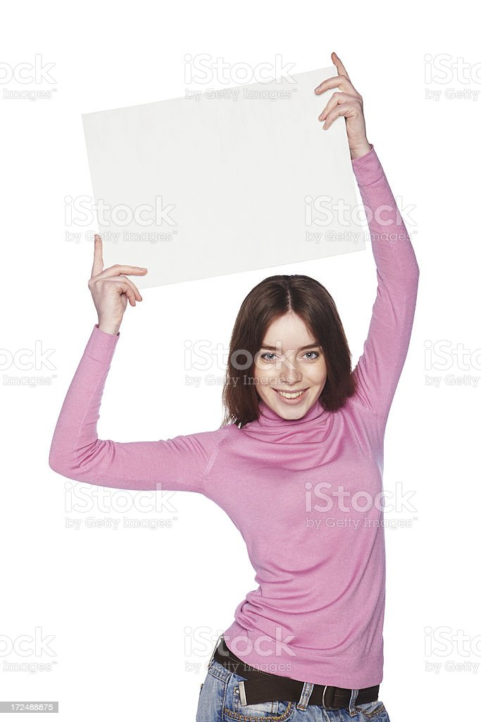 Beautiful girl with blank white banner overhead. royalty-free stock photo