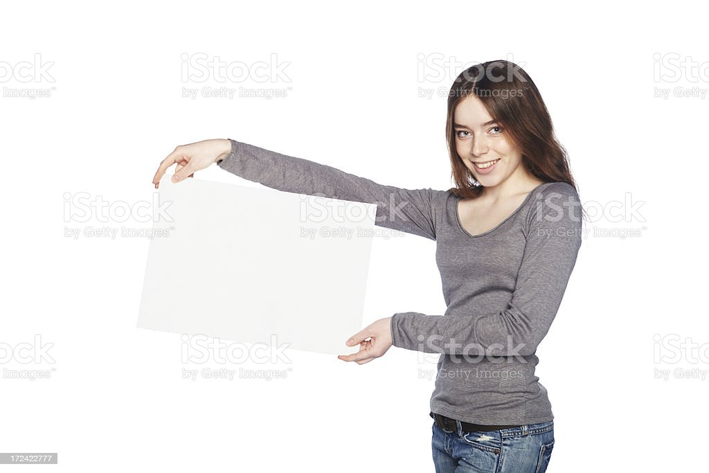 Beautiful girl with blank white banner. stock photo