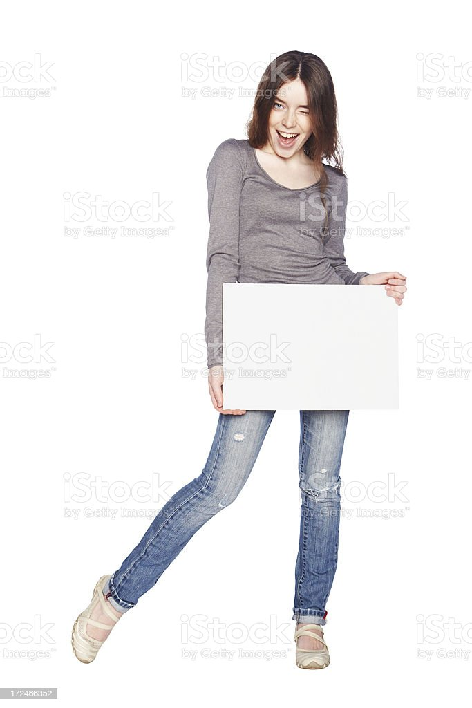Beautiful girl with blank white banner. royalty-free stock photo