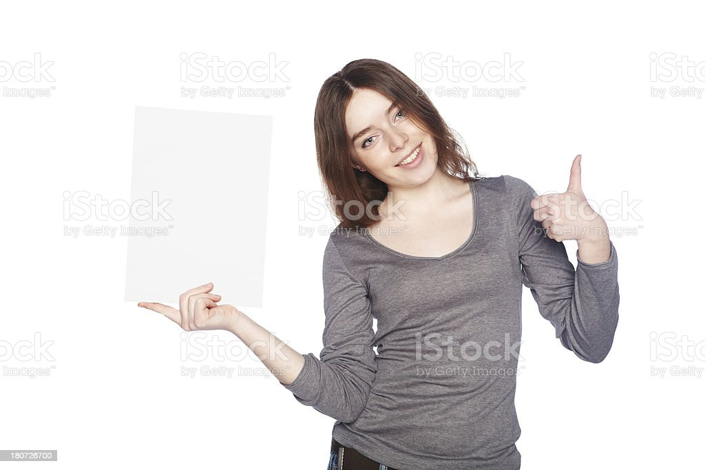 Beautiful girl with blank white banner royalty-free stock photo