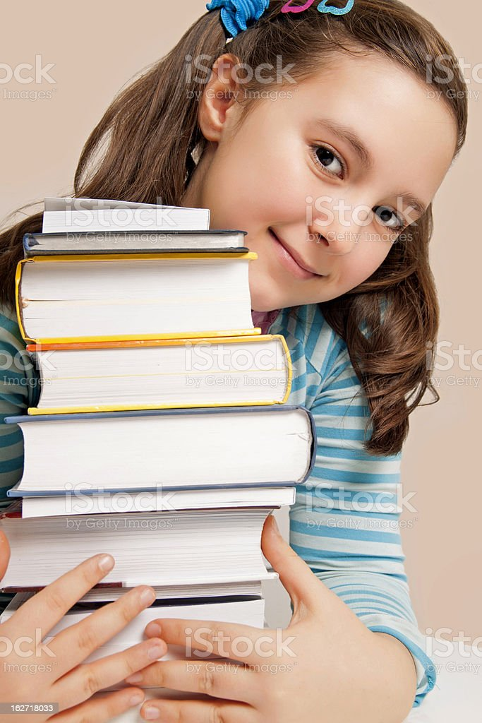 Beautiful girl with books royalty-free stock photo