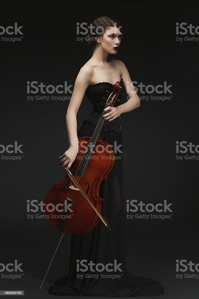 Beautiful girl with cello stock photo