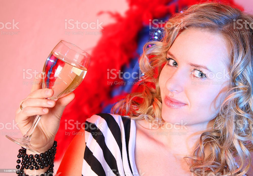 Beautiful girl with champagne royalty-free stock photo