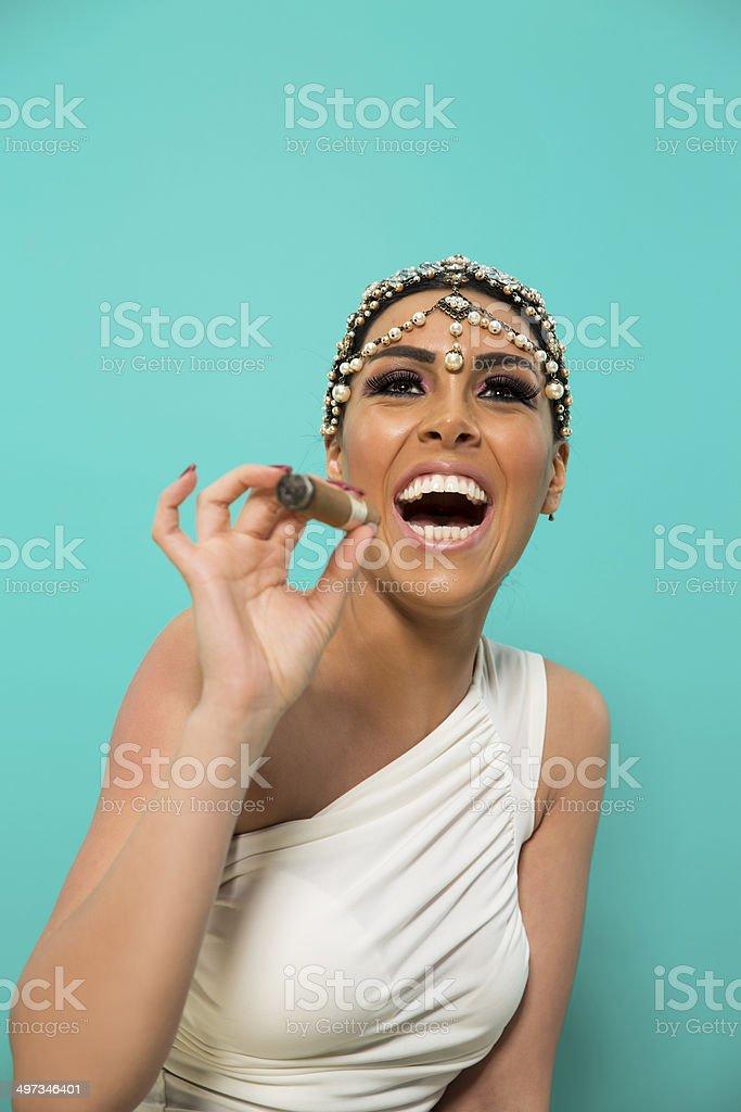 Beautiful Girl With Cigar stock photo
