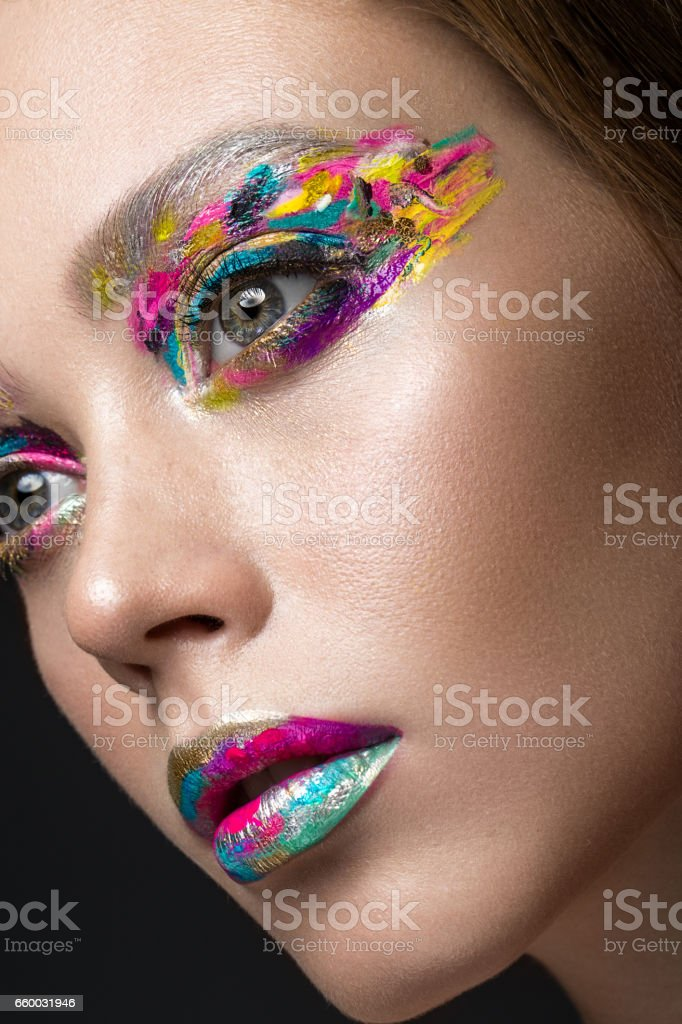 Beautiful Girl With Creative Colorful Makeup Beauty Face stock ...