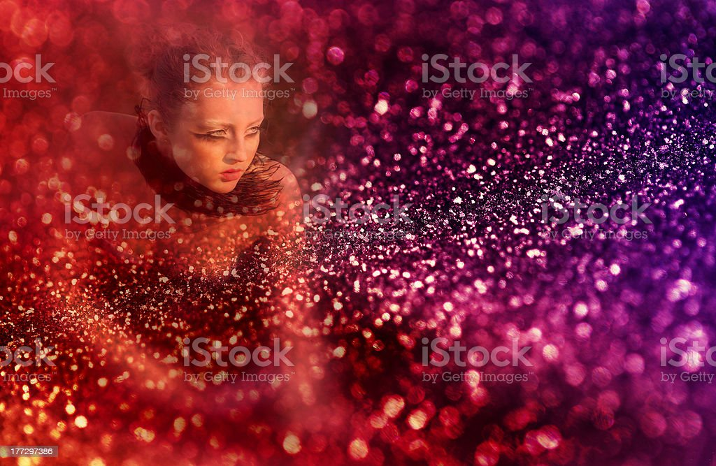 beautiful girl with creative make-up mask royalty-free stock photo