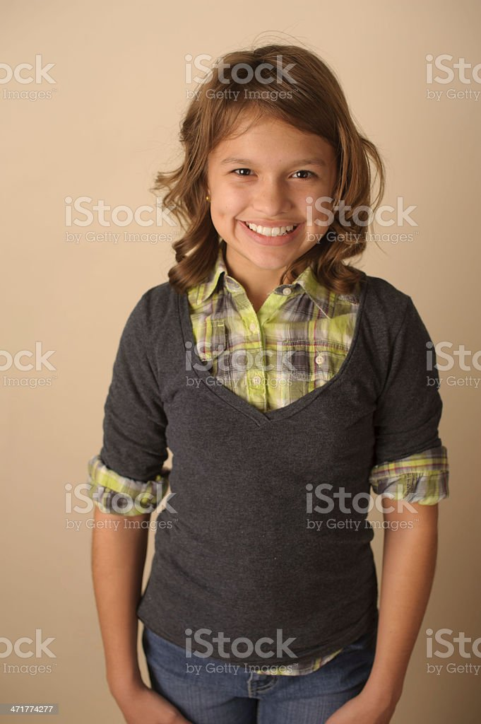 Beautiful Girl With Dimples Smiling While Posing for Camera royalty-free stock photo