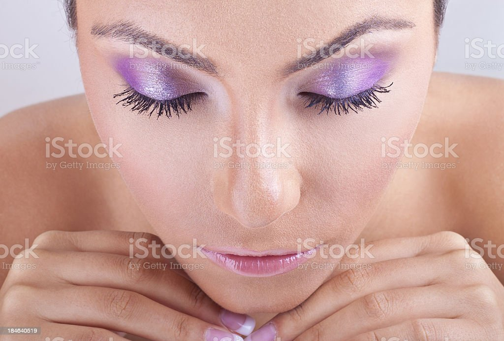 Beautiful girl with eyes closed royalty-free stock photo