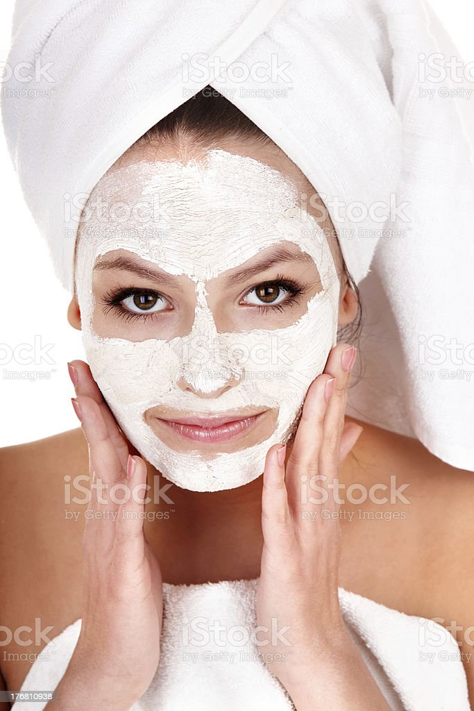 Beautiful girl with facial mask. royalty-free stock photo
