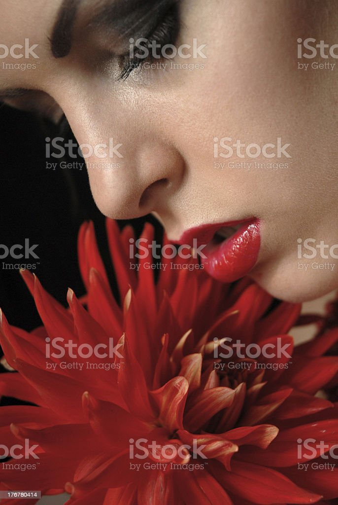 beautiful girl with flower stock photo