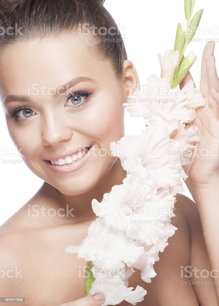 Beautiful girl with flowers royalty-free stock photo