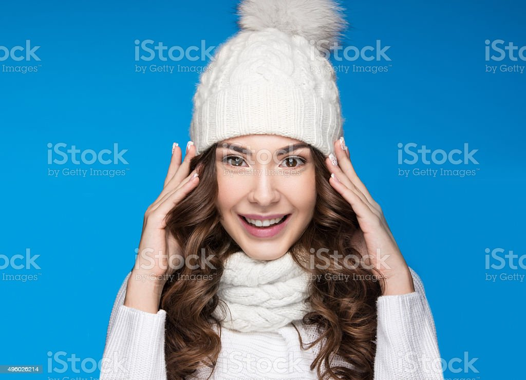 Beautiful girl with gentle makeup, design manicure and smile in stock photo