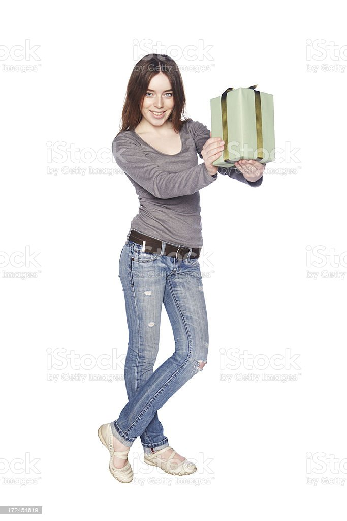 Beautiful girl with gift box royalty-free stock photo