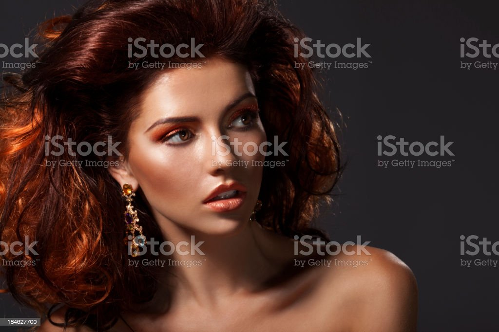 Beautiful girl with gorgeous hair royalty-free stock photo