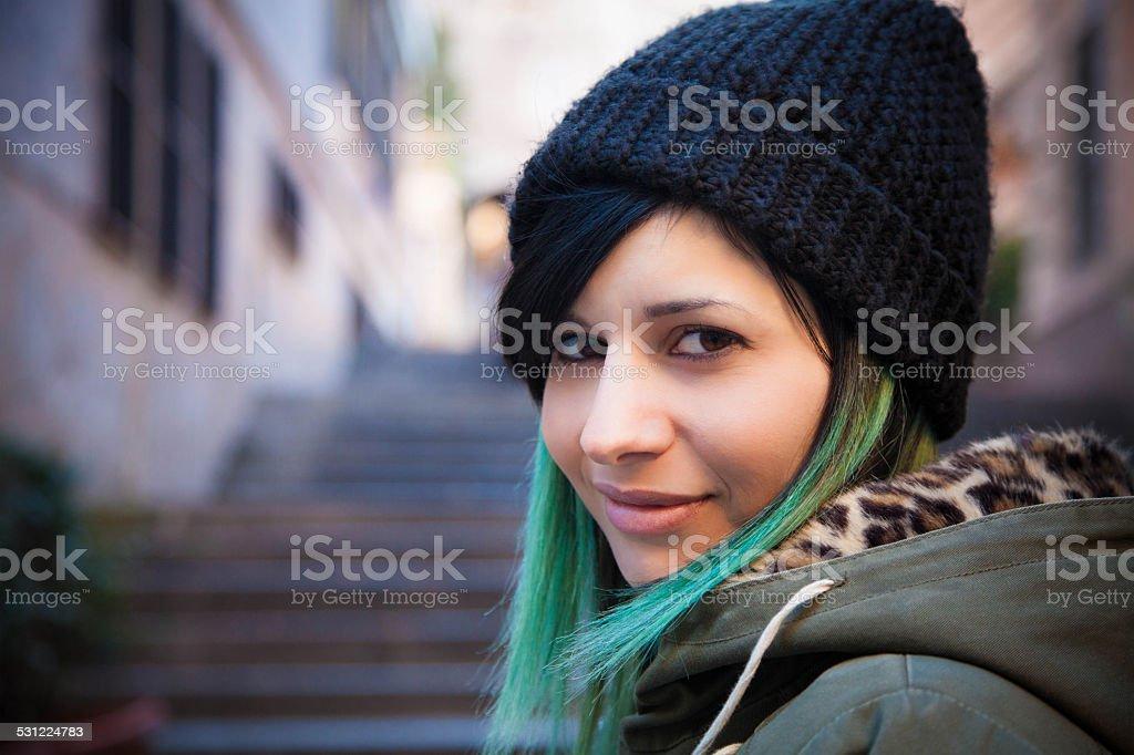 Beautiful girl with green hair stock photo