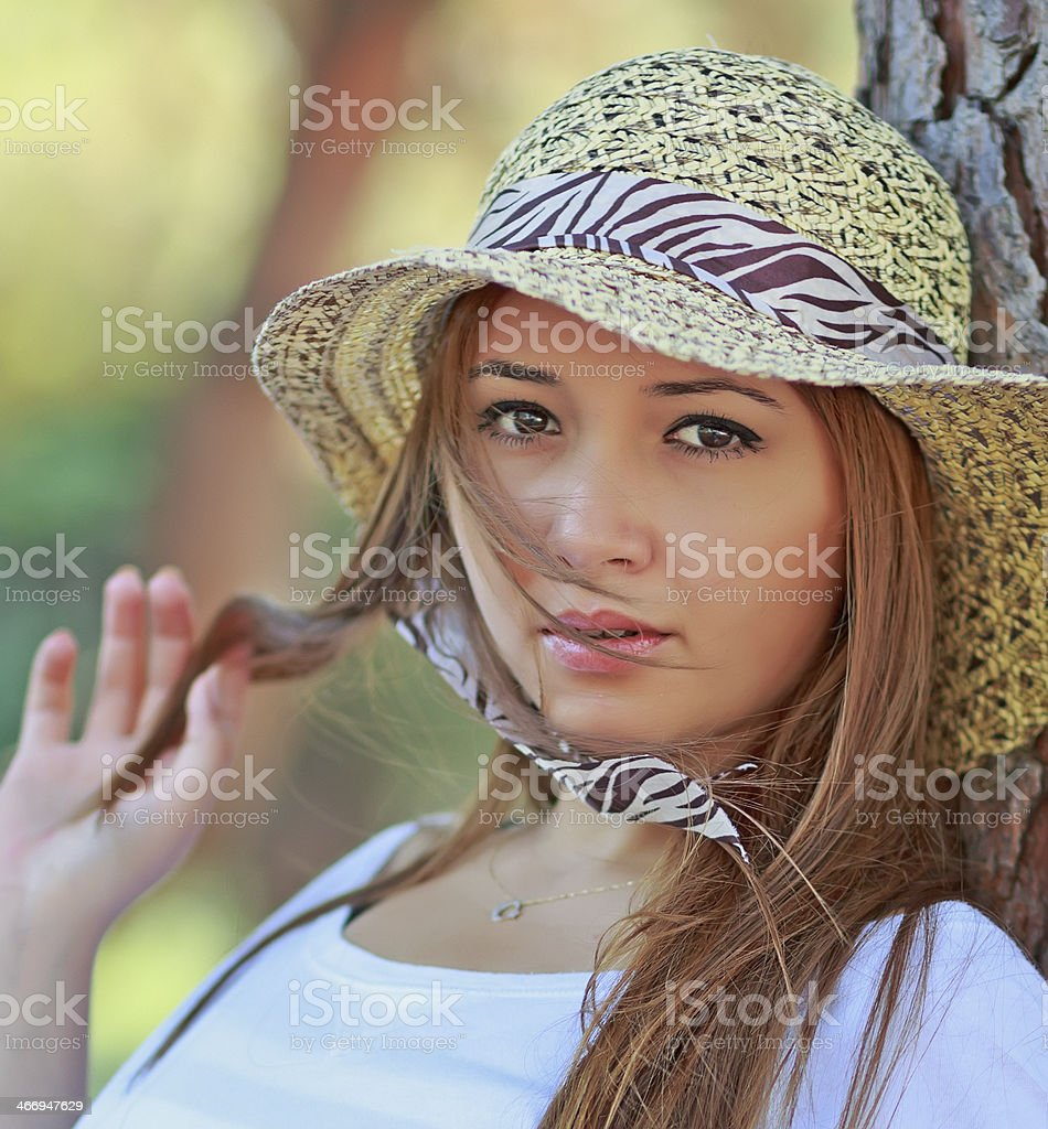 Beautiful girl with hat royalty-free stock photo