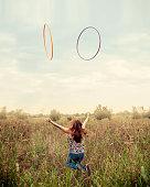 Beautiful girl with hula hoop