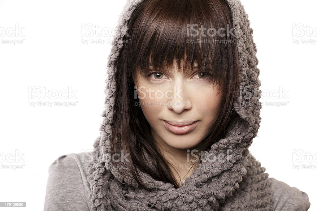 beautiful girl with knitted scarf royalty-free stock photo