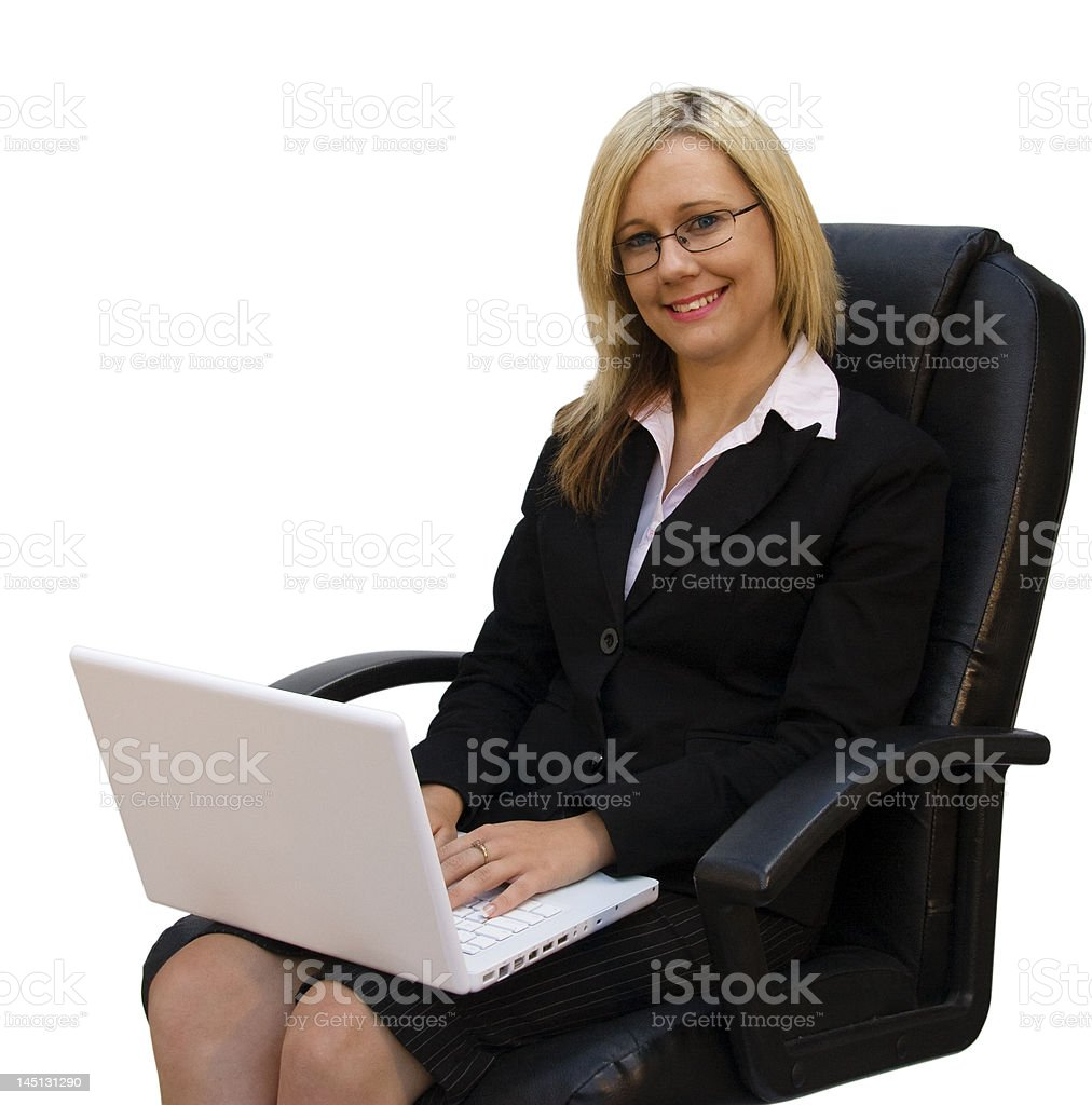 Beautiful girl with laptop on her lap royalty-free stock photo