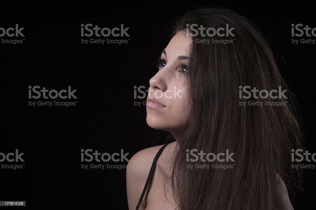 Beautiful girl with long hair royalty-free stock photo