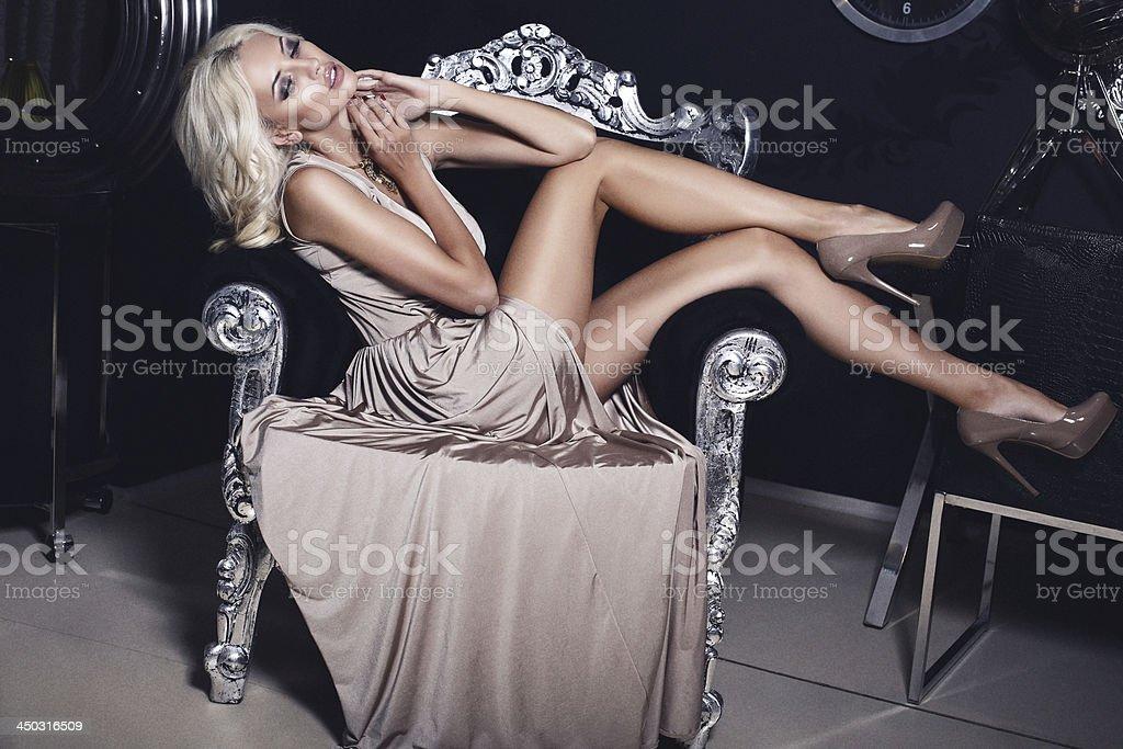 beautiful girl with long legs stock photo