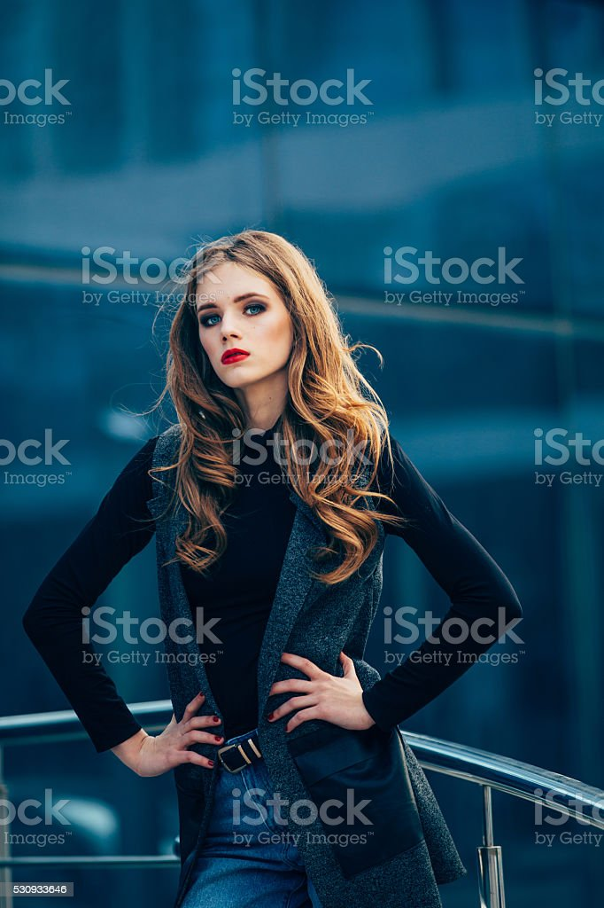 Beautiful girl with make-up. stock photo
