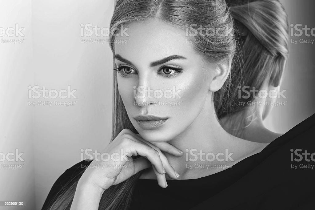 Beautiful girl with makeup stock photo